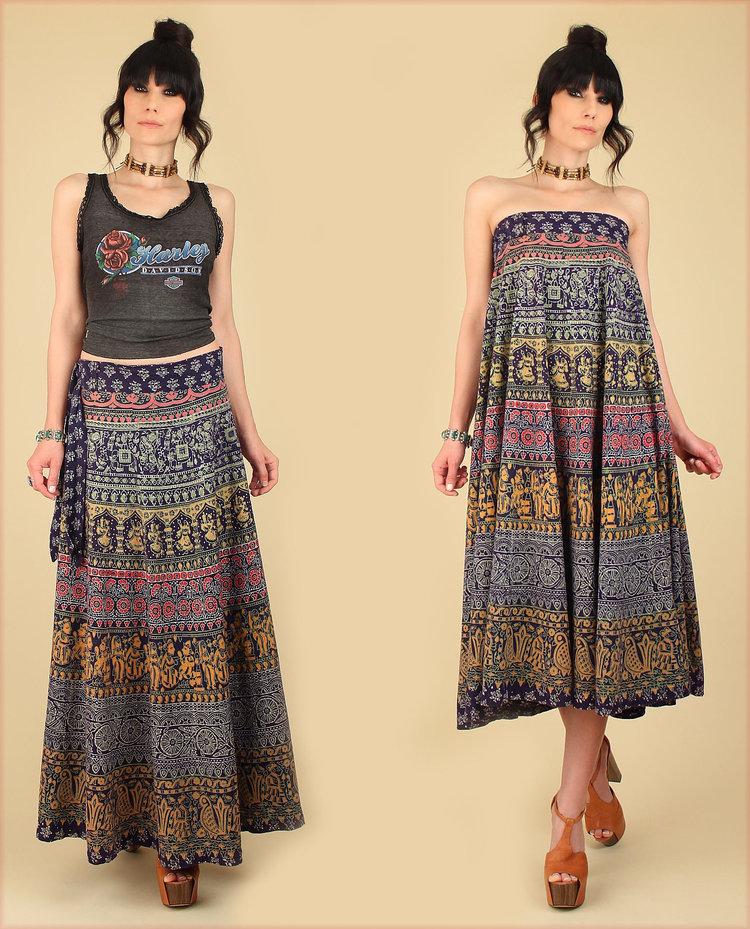 Indian Block Print Skirt from  Hellhound Vintage