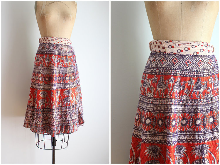 Orange and Purple Block Print Skirt from  Age of Mint