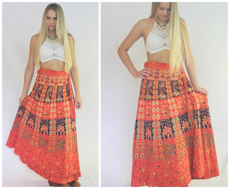 Cotton Boho Indian Wrap Skirt from  Zodiac Vintage Co