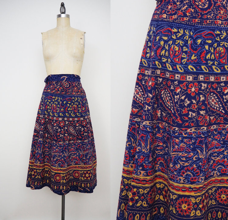 1970s Indian Wrap Skirt from  Get Up Vintage