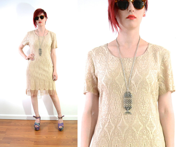 90s Gold Lace Party Dress with Fringe Hem from  Trendy Pants Vintage