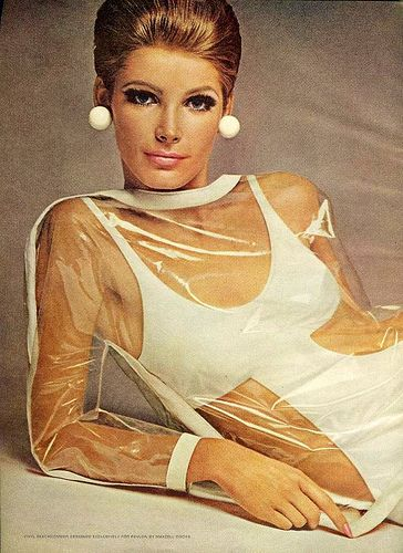 Mademoiselle Magazine July 1966 featuring a Retro Cut Out Plastic Dress