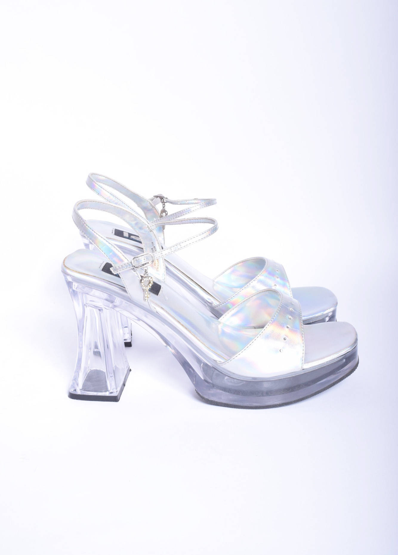Vintage 90s Transparent Heels with Iridescent Colour from Black Pagan Vintage