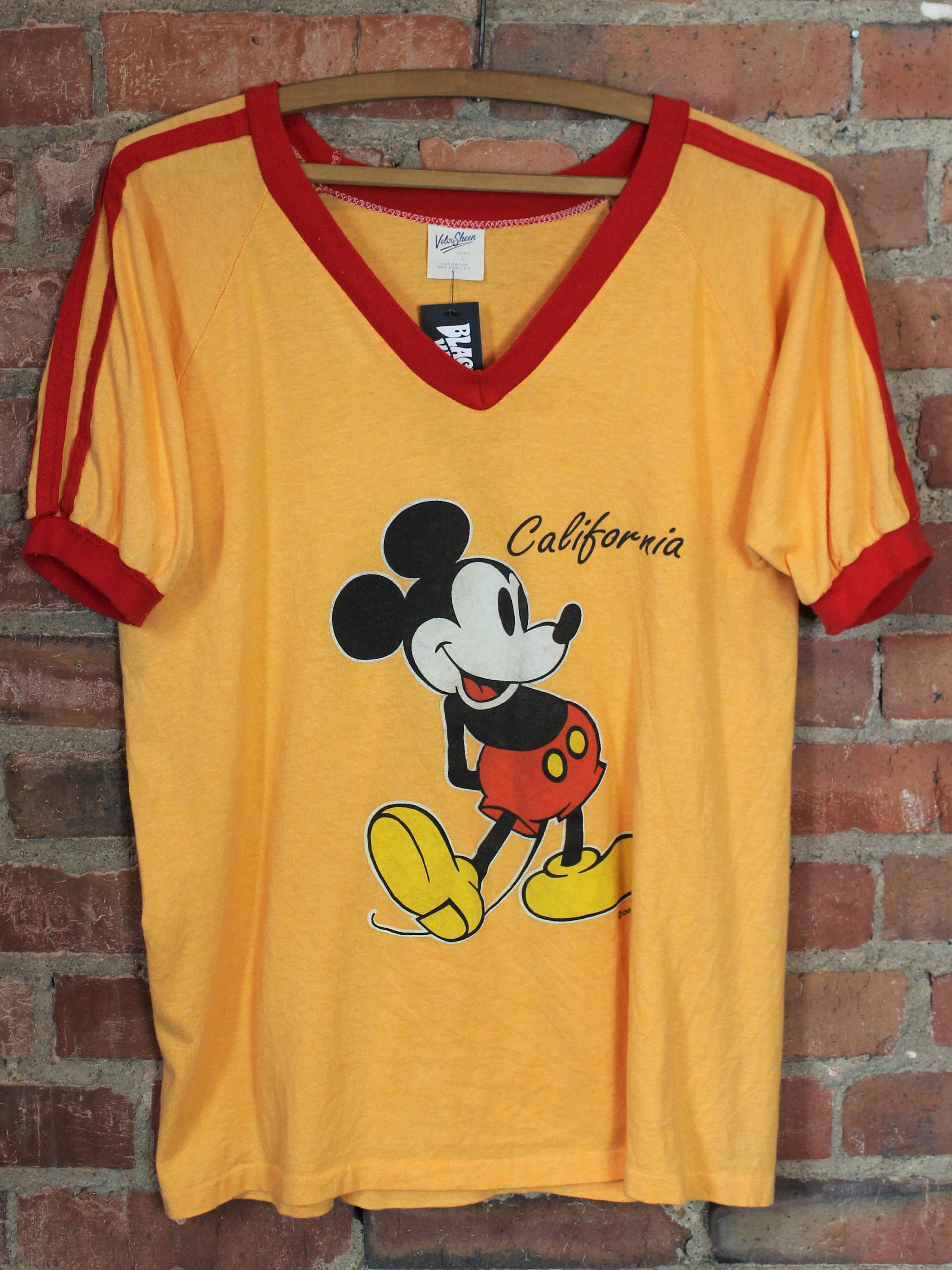 1970s Raglan Tee in Yellow and Red with Mickey Mouse from Black Shag Vintage