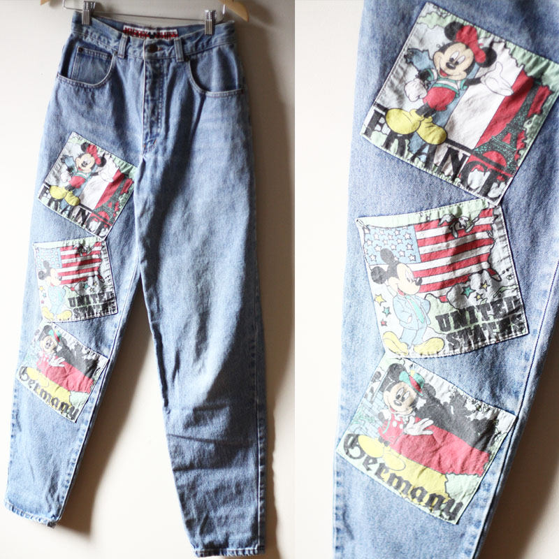 Worn In High Waisted 80s Vintage Denim Jeans with Mickey Mouse Patches