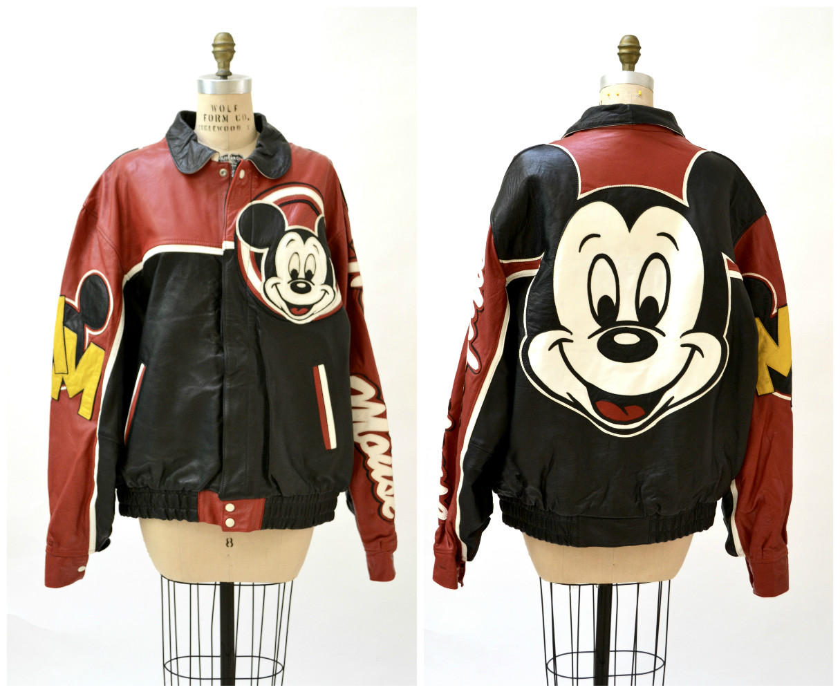 Mickey Mouse Vintage 90s Leather Jacket from Hooked on Honey