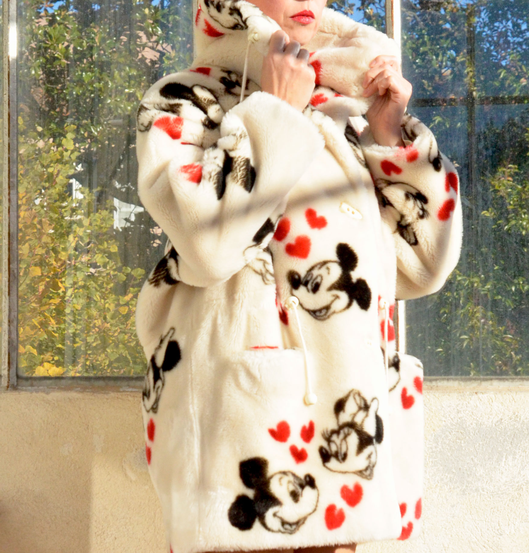 French Designer Faux Fur Coat with Mickey and Minnie Mouse from Au Grenier De Cerise