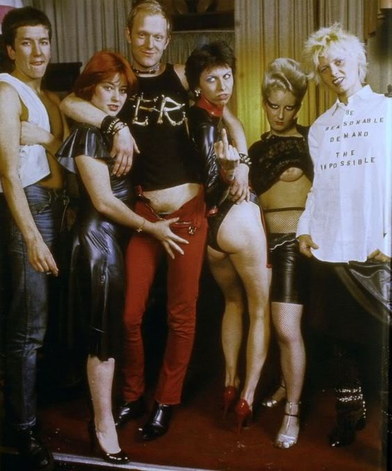 From left to right: Steve Jones ( Sex Pistols) , unknown, Alan Jones, Chrissie Hynde, Jordan and Vivienne Westwood ( Photo: David Dagley/Rex)