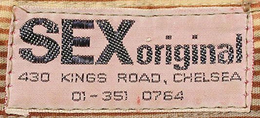 Original garment label from an item fro the SEX boutique.