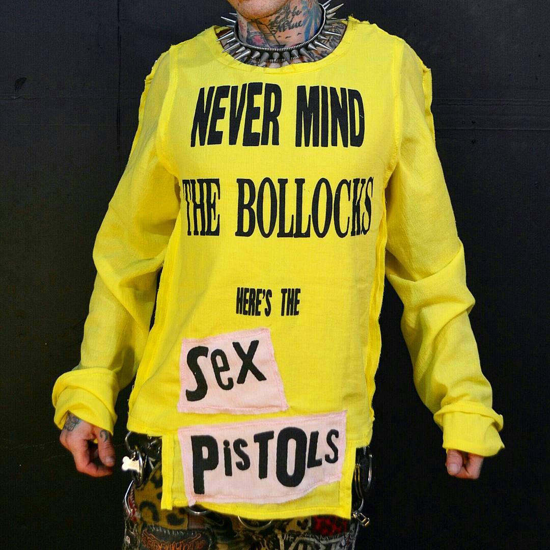 Gauze Fabric and Bondage Sex Pistols Long Sleeve Shirt