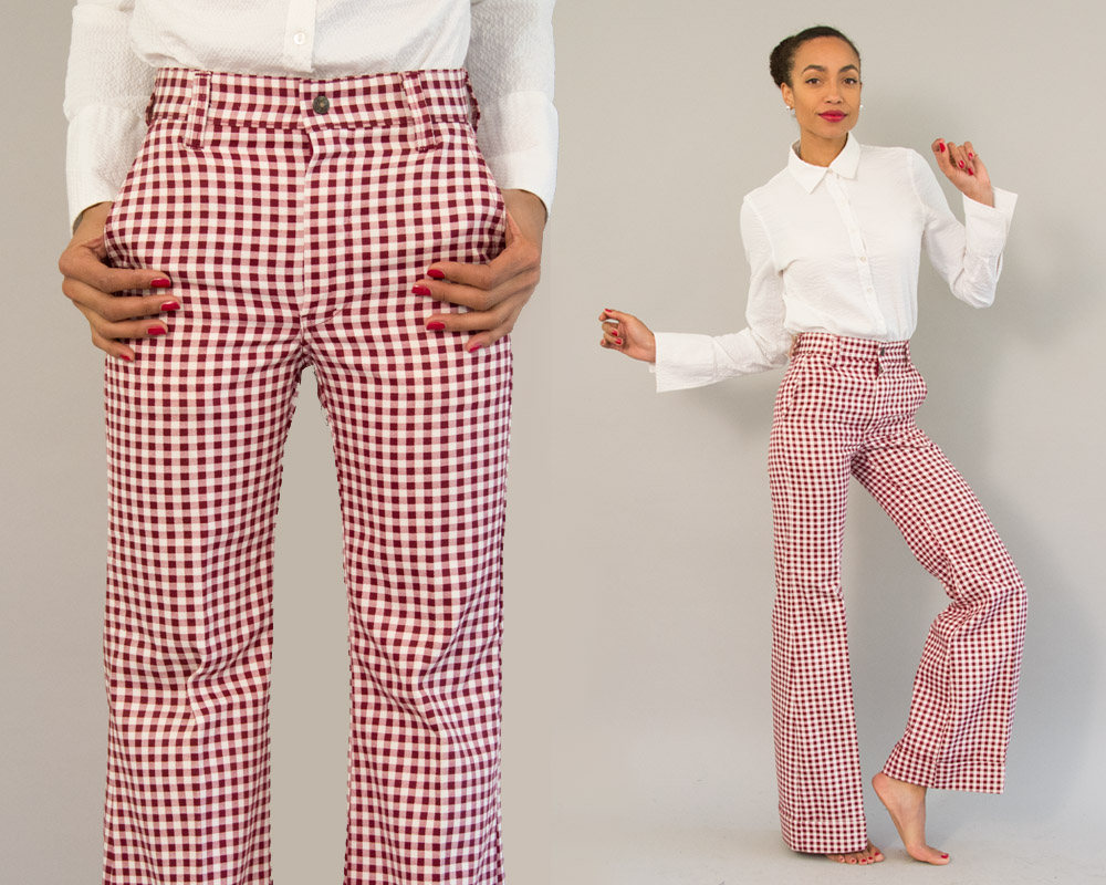 70s Vintage Burgundy and White Plaid Flared Trousers from Day 17 Vintage