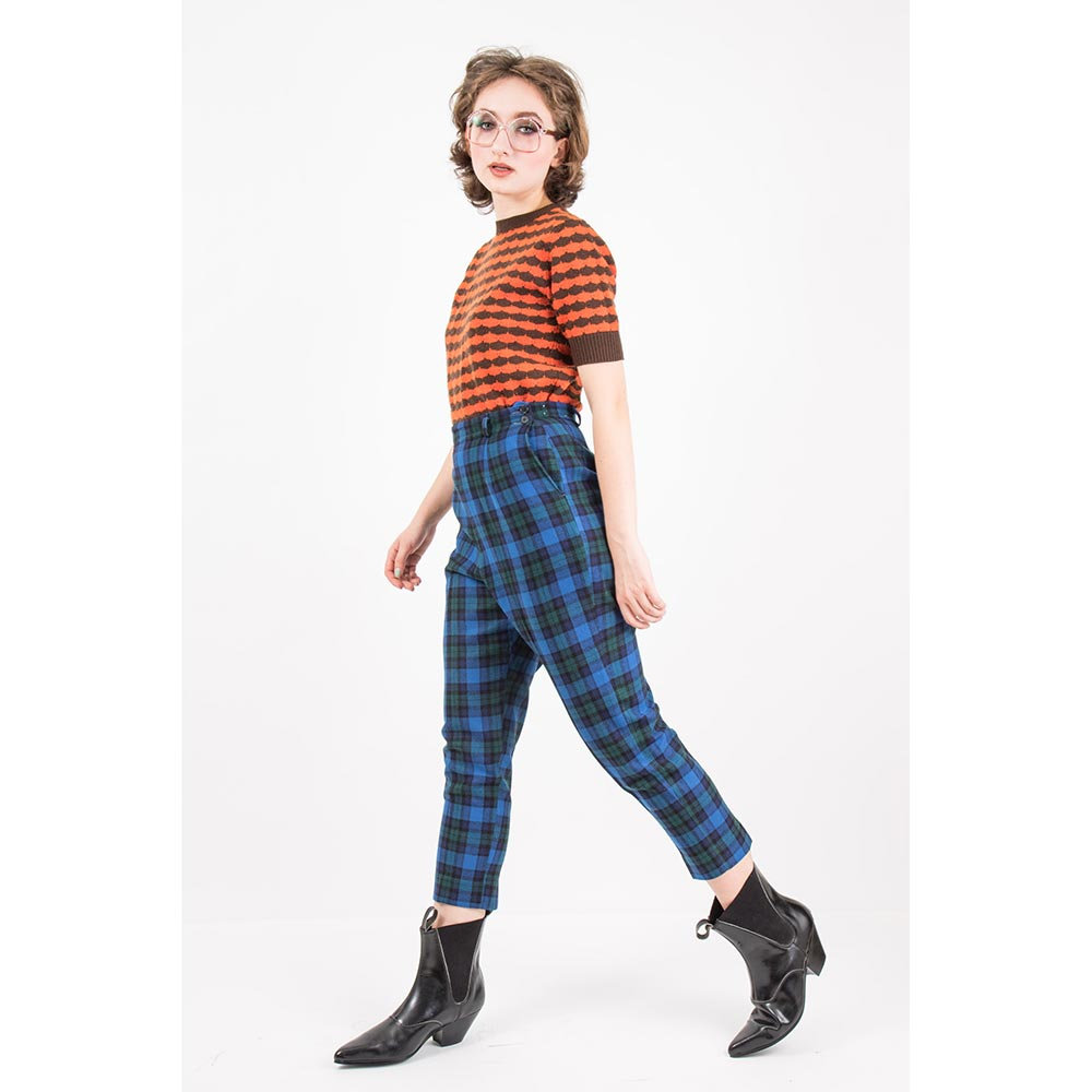 60s Vintage Blue Plaid High Waisted Pants from Carla and Carla