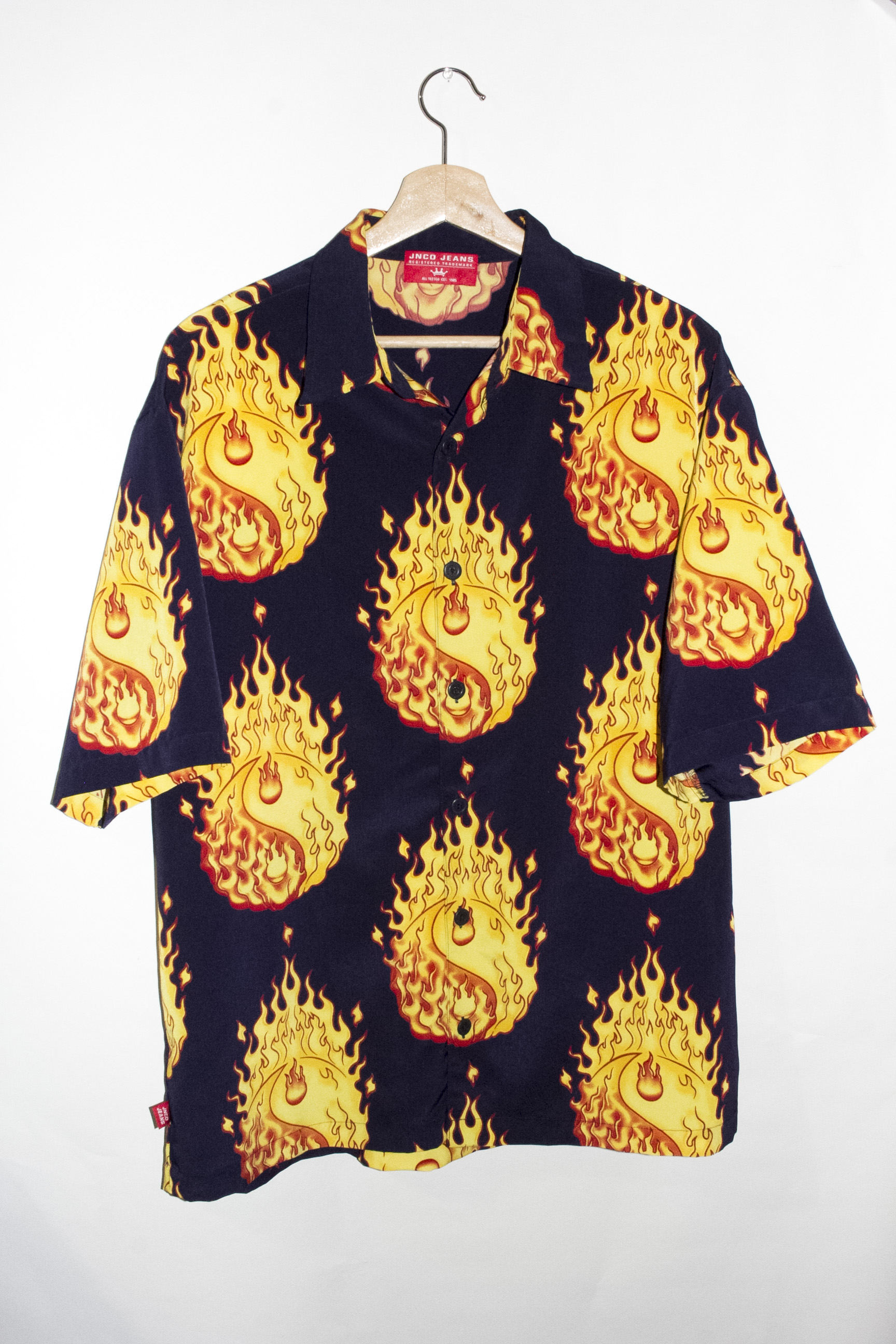 Vintage Yin Yang Flames Button Up Shirt from DREGS Shop