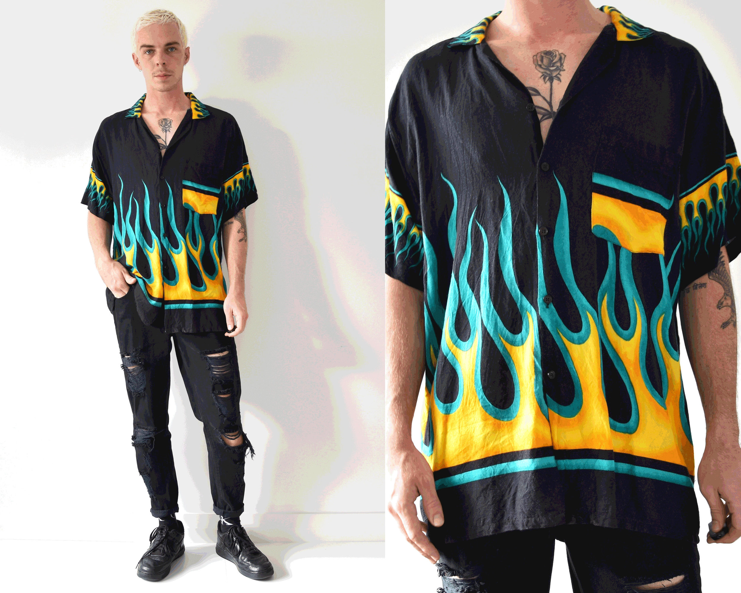 90s Yellow Flame Button Up Shirt from Cheney Ryan Apparel