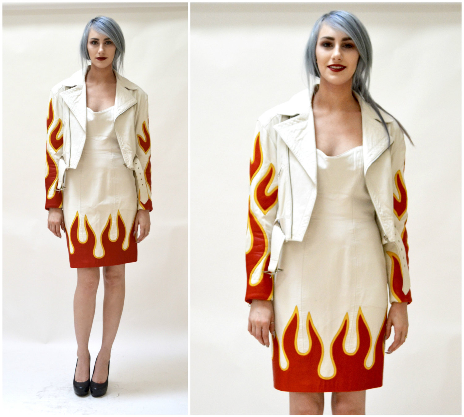 White Leather Motorcycle Jacket by Michael Hoban from Hooked On Honey