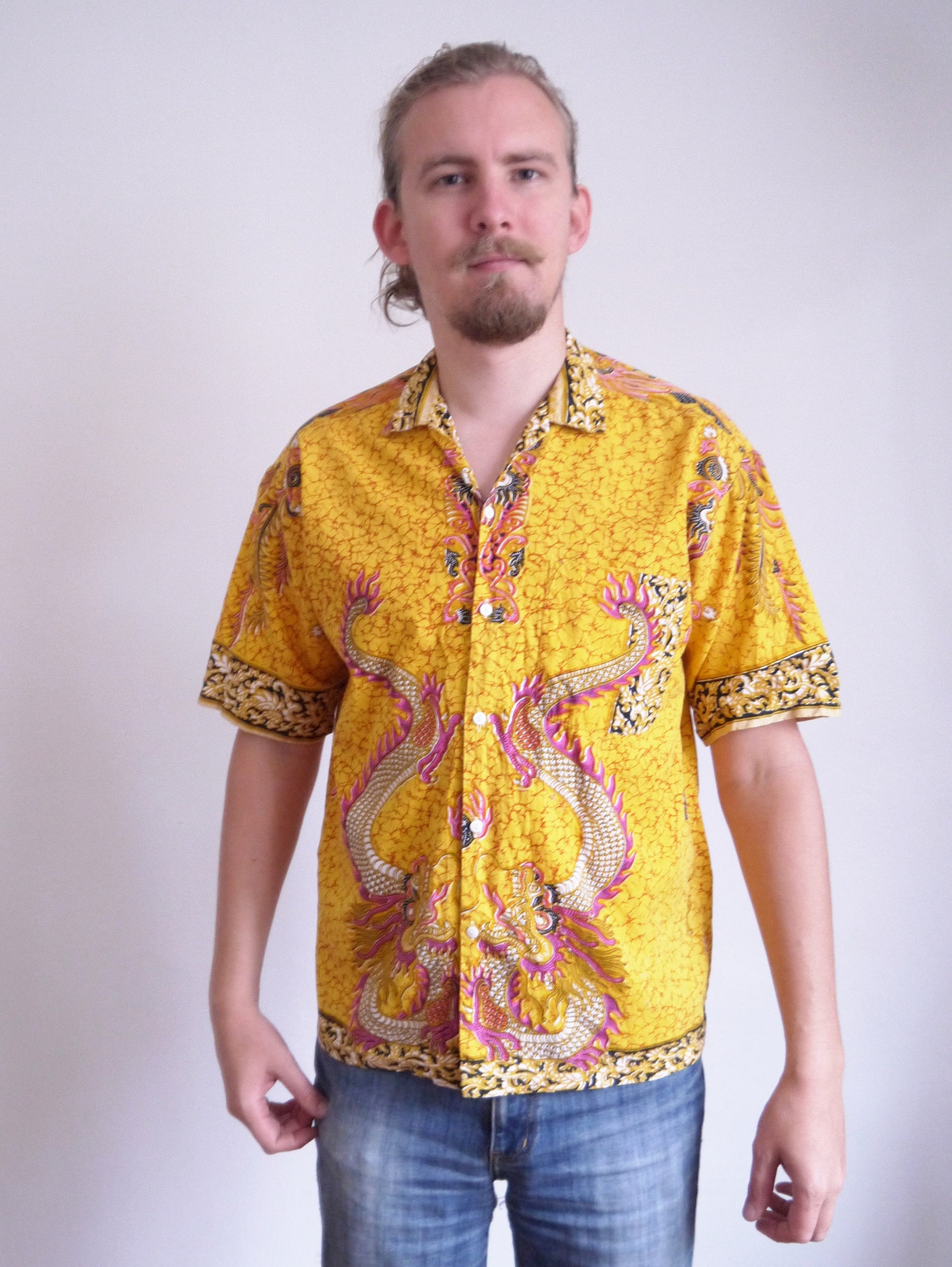 Yellow Dragons 70s Button Up Shirt from Traveling Cat