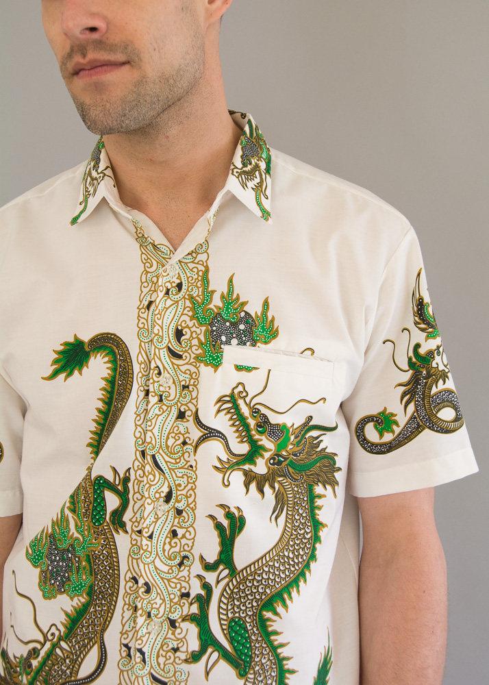 1970s Java Batik Mens Shirt from Day 17 Vintage
