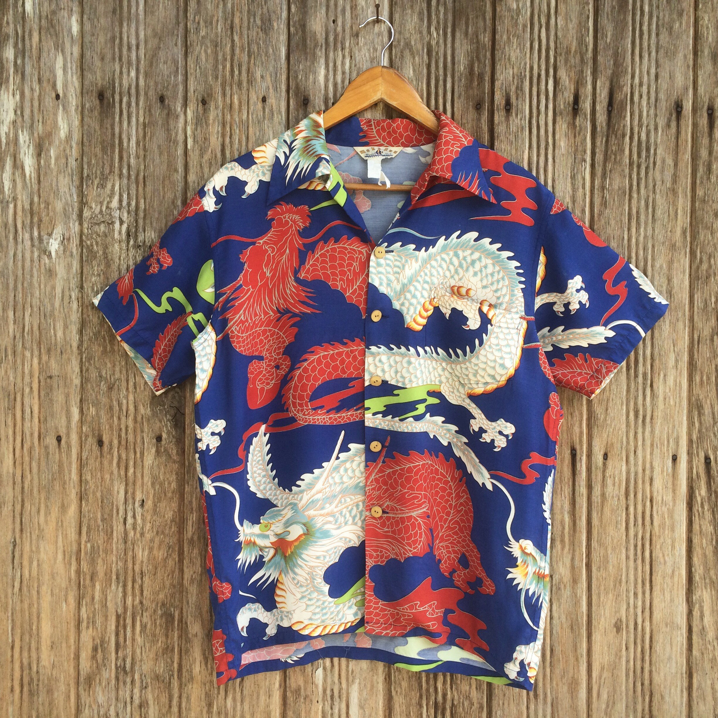 Mens 90s Vintage Hawaiian Shirt with Dragon Motif from Vintage Gallagers