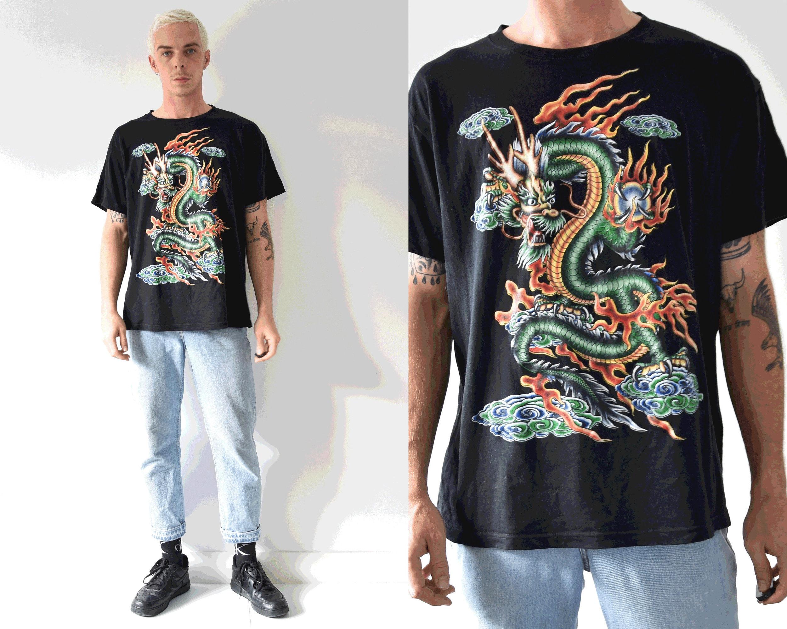 Oriental Blazing Dragon Print Tshirt from Chene Ryan Apparel