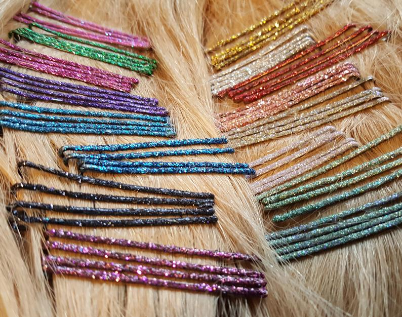 How about add some glitter with these  glitter bobby pins!