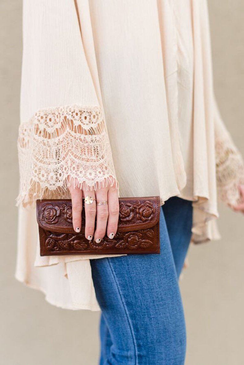 A beautiful vintage  tooled leather wallet
