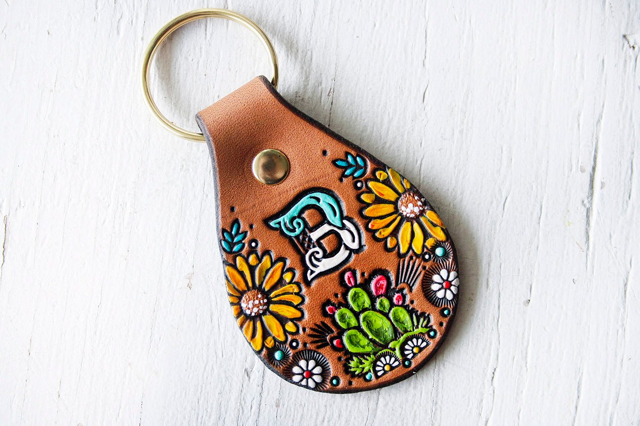 A hand stamped personalised key fob