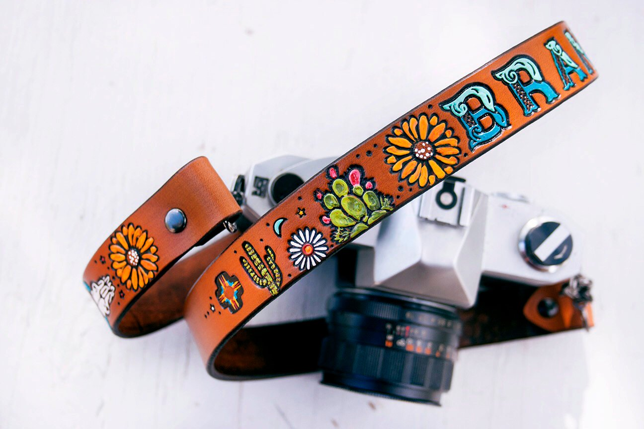 How amazing is this  tooled leather camera strap