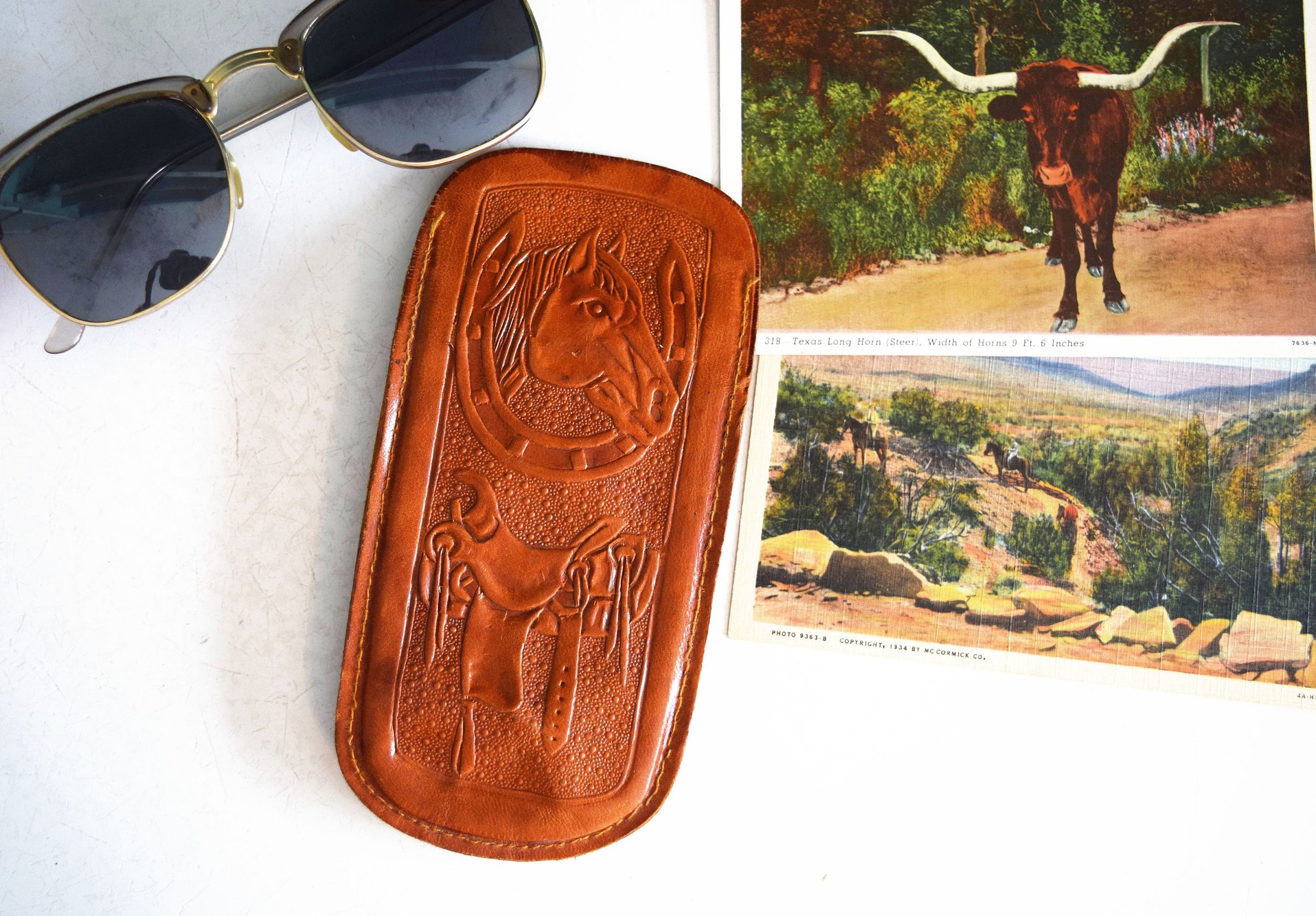 Western theme vintage tooled  leather glasses case