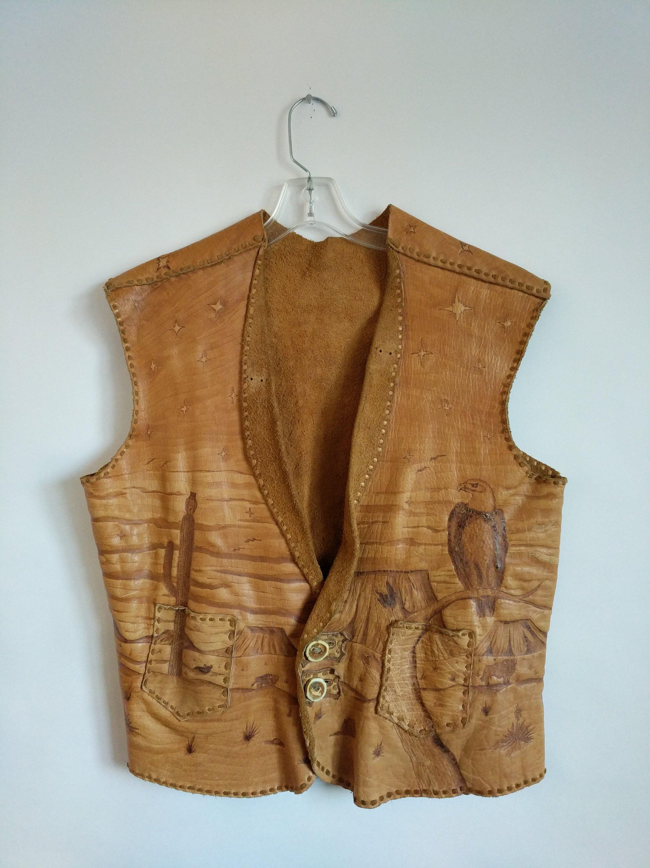 Vintage Biker Vest  with Eagle and Desert Theme