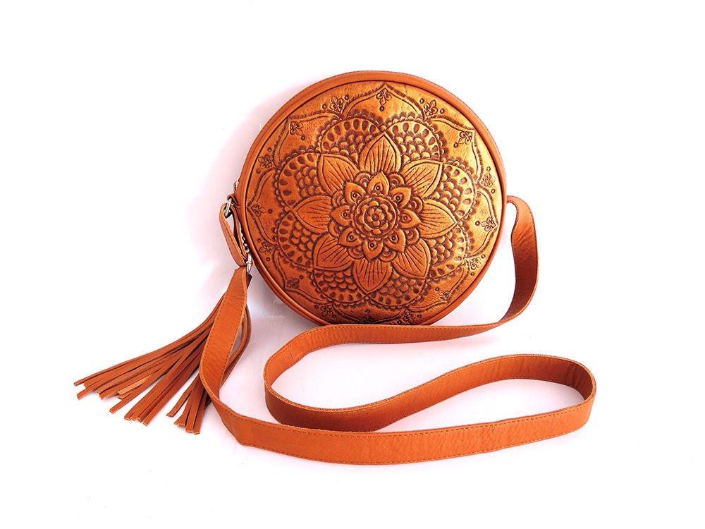 Handmade  leather mandala bag