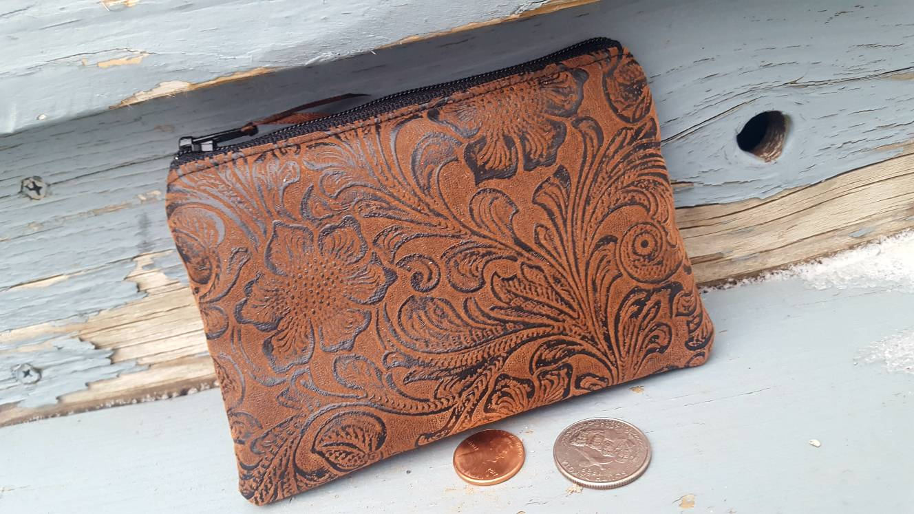 Faux Leather coin purse  with embossed design