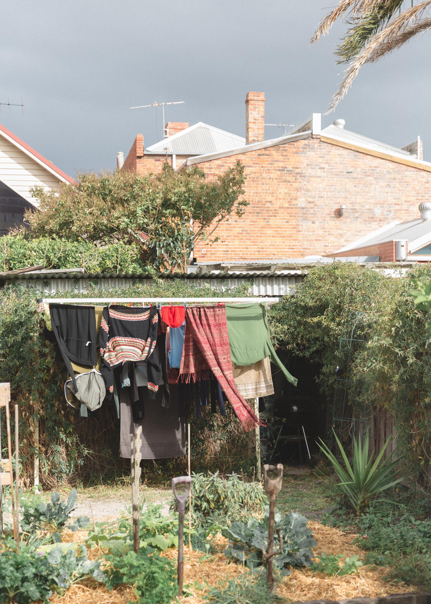 washing hills hoist clothes line backyard