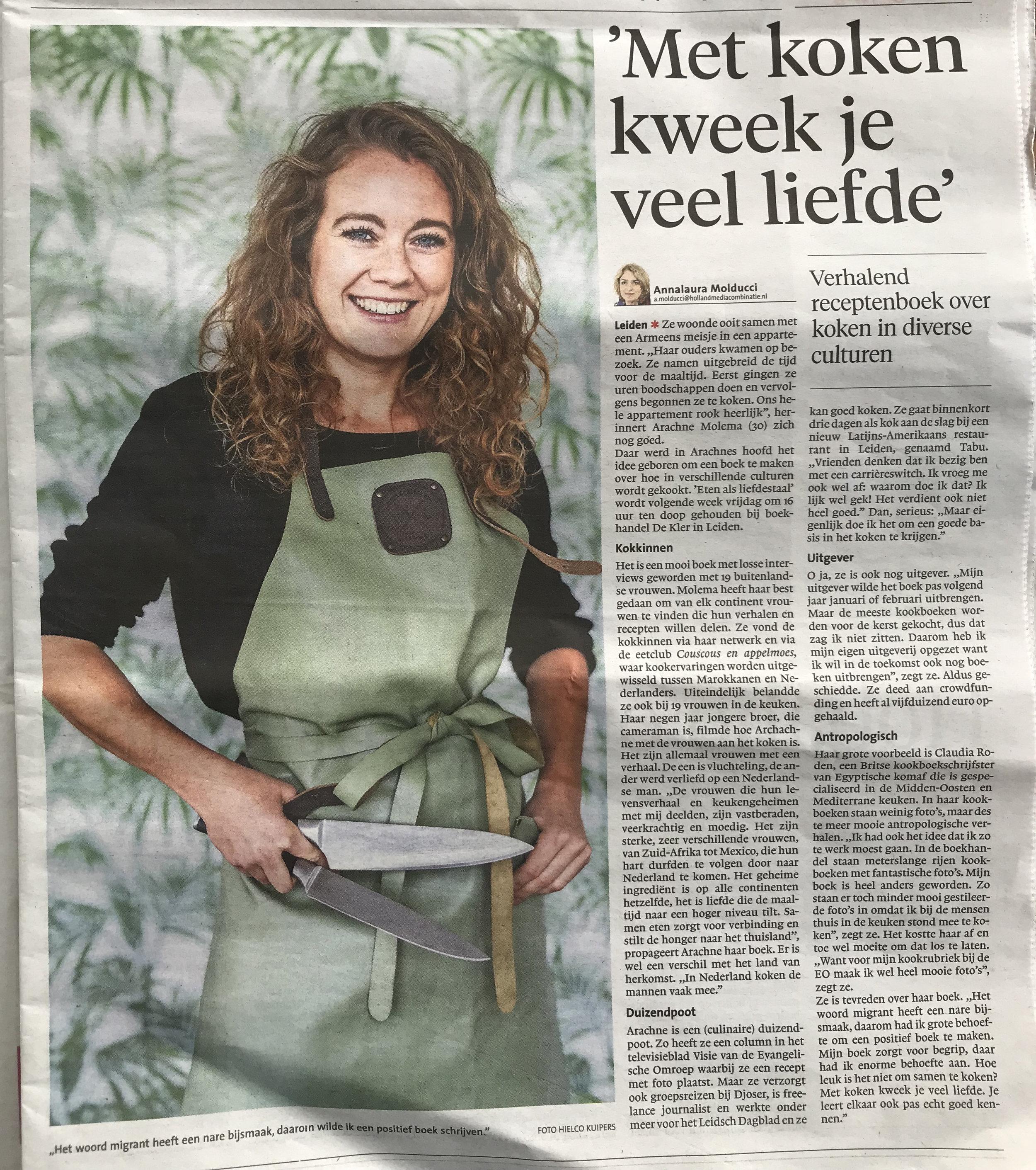 *Leidsch Dagblad. Krantenartikel 'Met koken kweek je liefde'.jpg