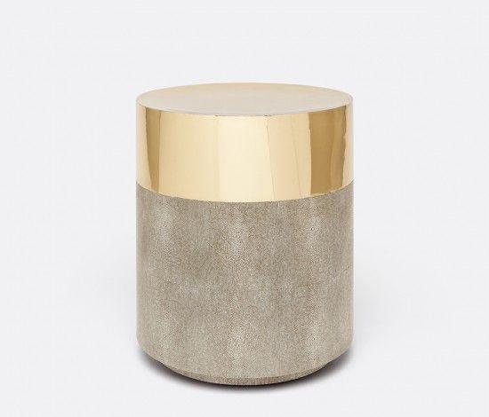 Made goods brass concrete ottoman round