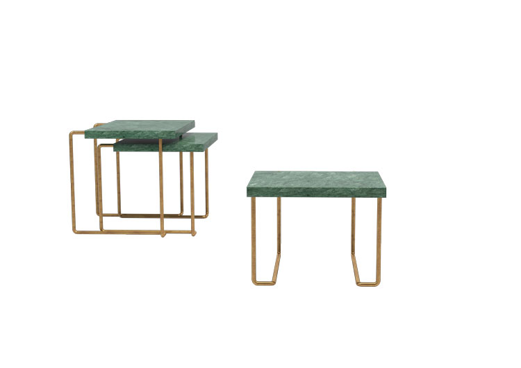 Dimore Studio brass tables green marble