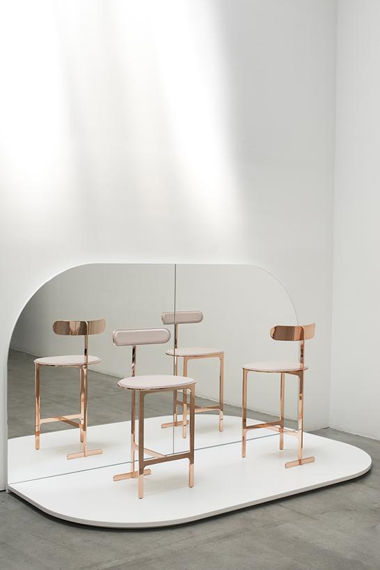 Yabu Pushelberg brass rose gold chairs elements stools