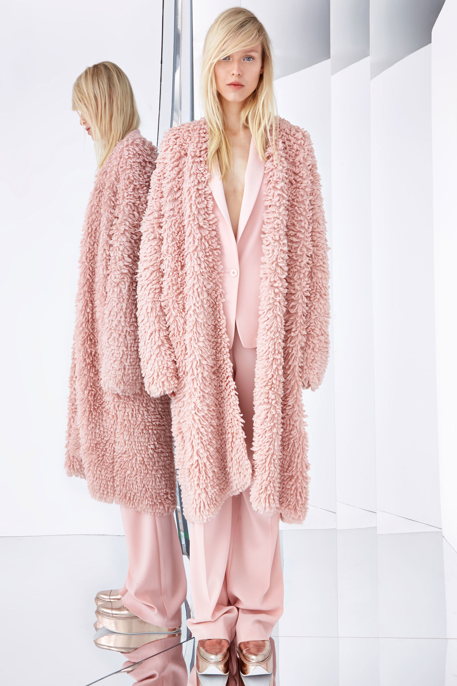 DKNY Resort 15 pink shaggy coat