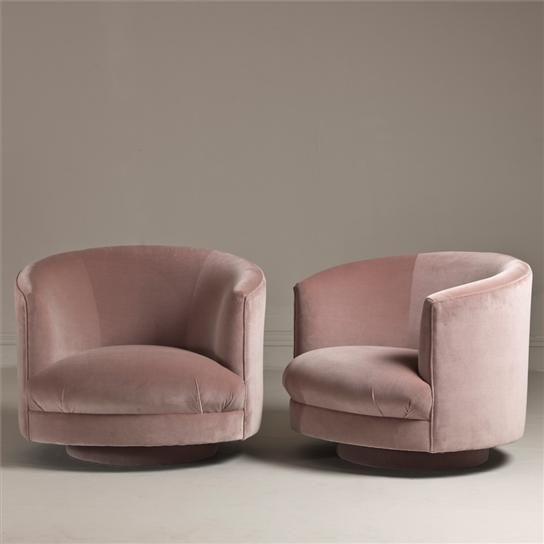 60's Swivel tub chairs pink velvet