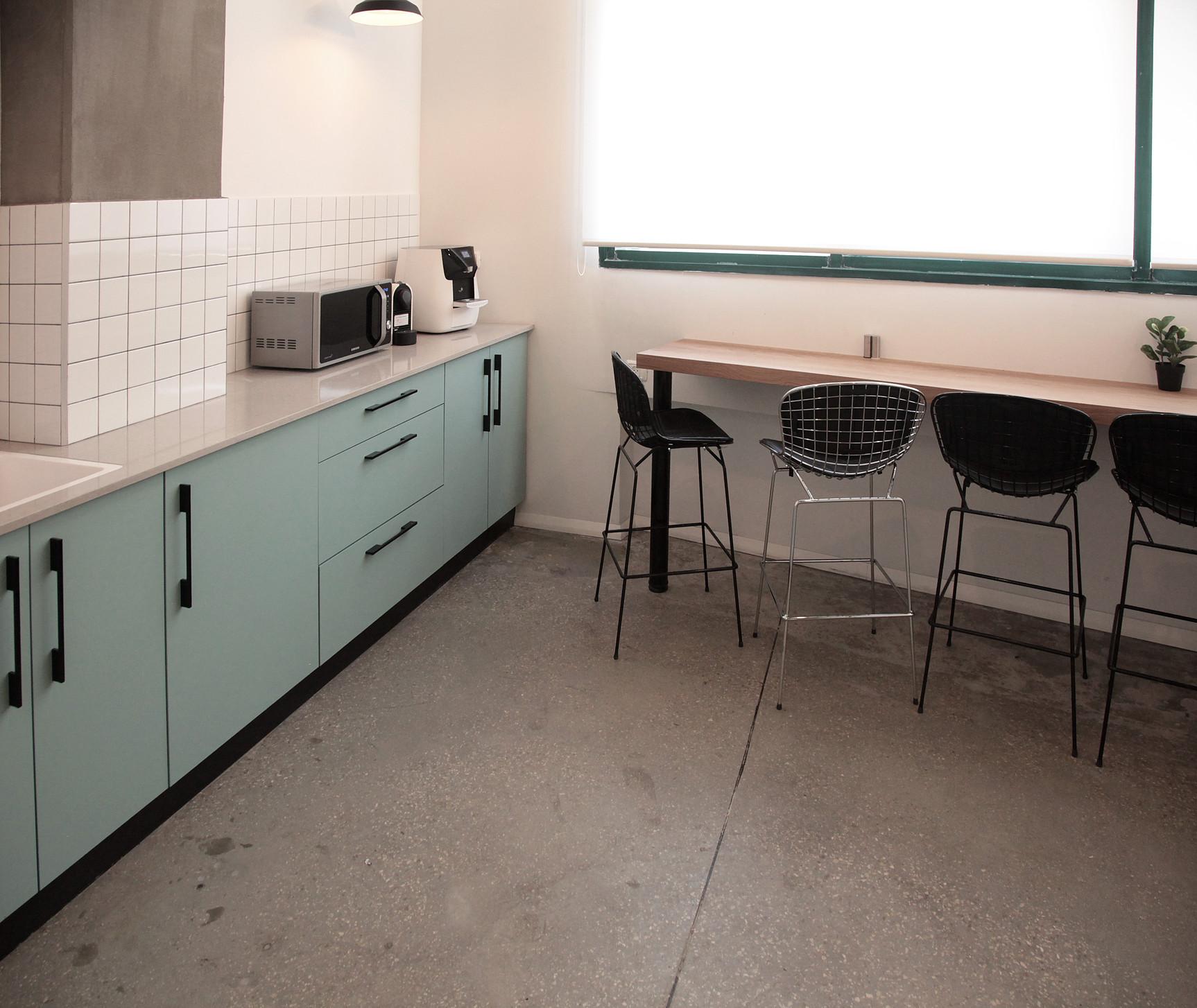 Office mint color kitchen