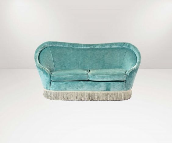 Gio Ponti tassel and velvet sofa