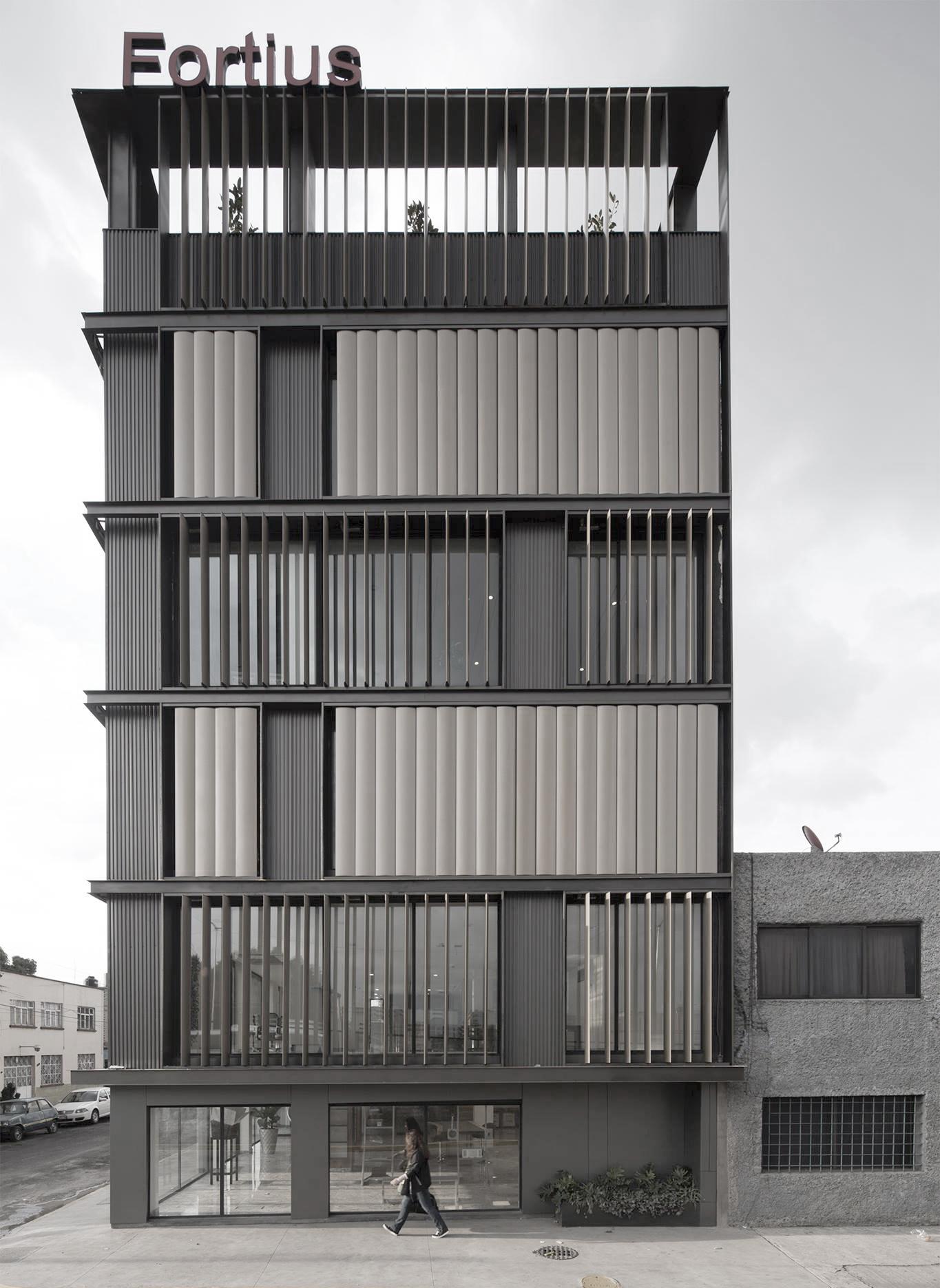 Striped facade vertical louvers