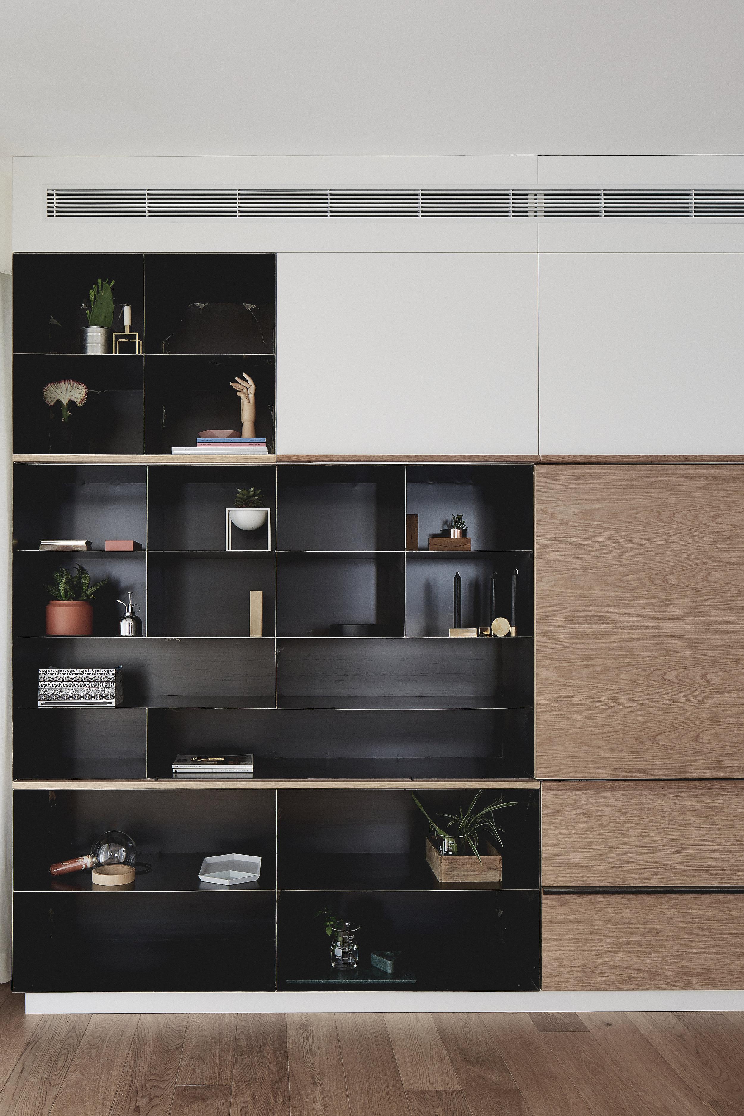 bespoke wood and steel unit. black&white & wood combination