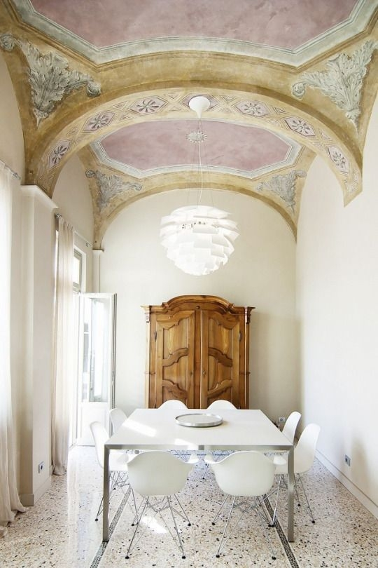 pink stucco ceiling