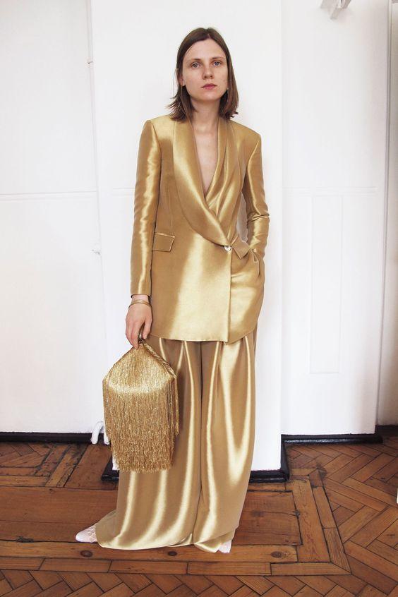 Hillier Bartley gold suit