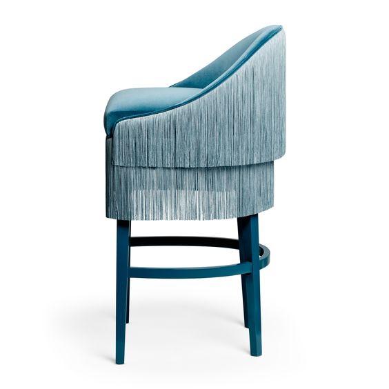 Munna design  blue velvet bar chair with tassels