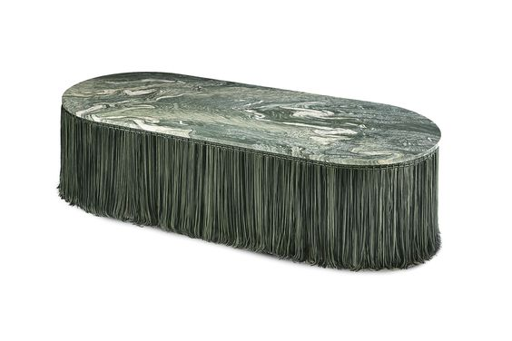 Cristina Celestino Low table in marble and fringes
