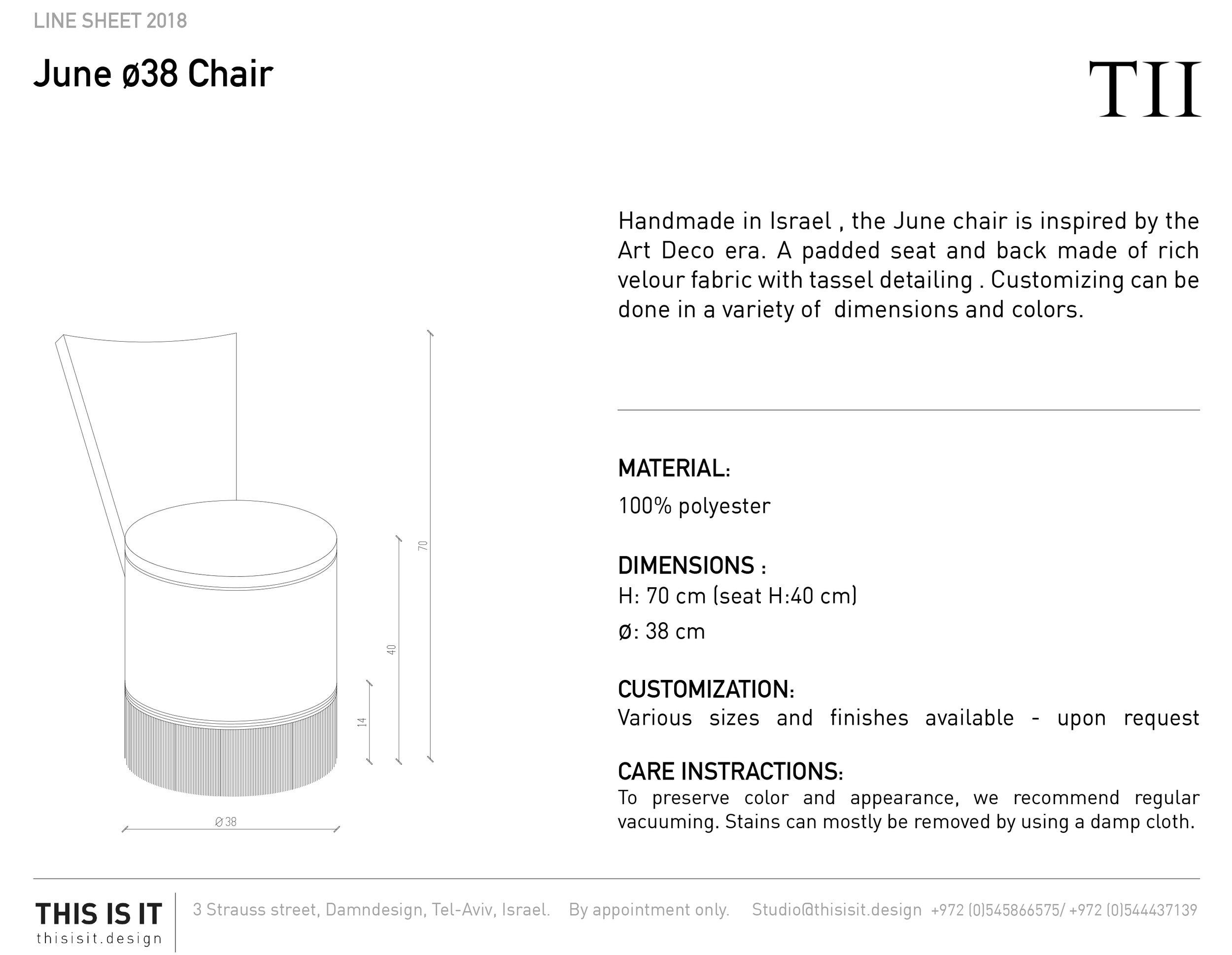 June chair Line sheet 2018