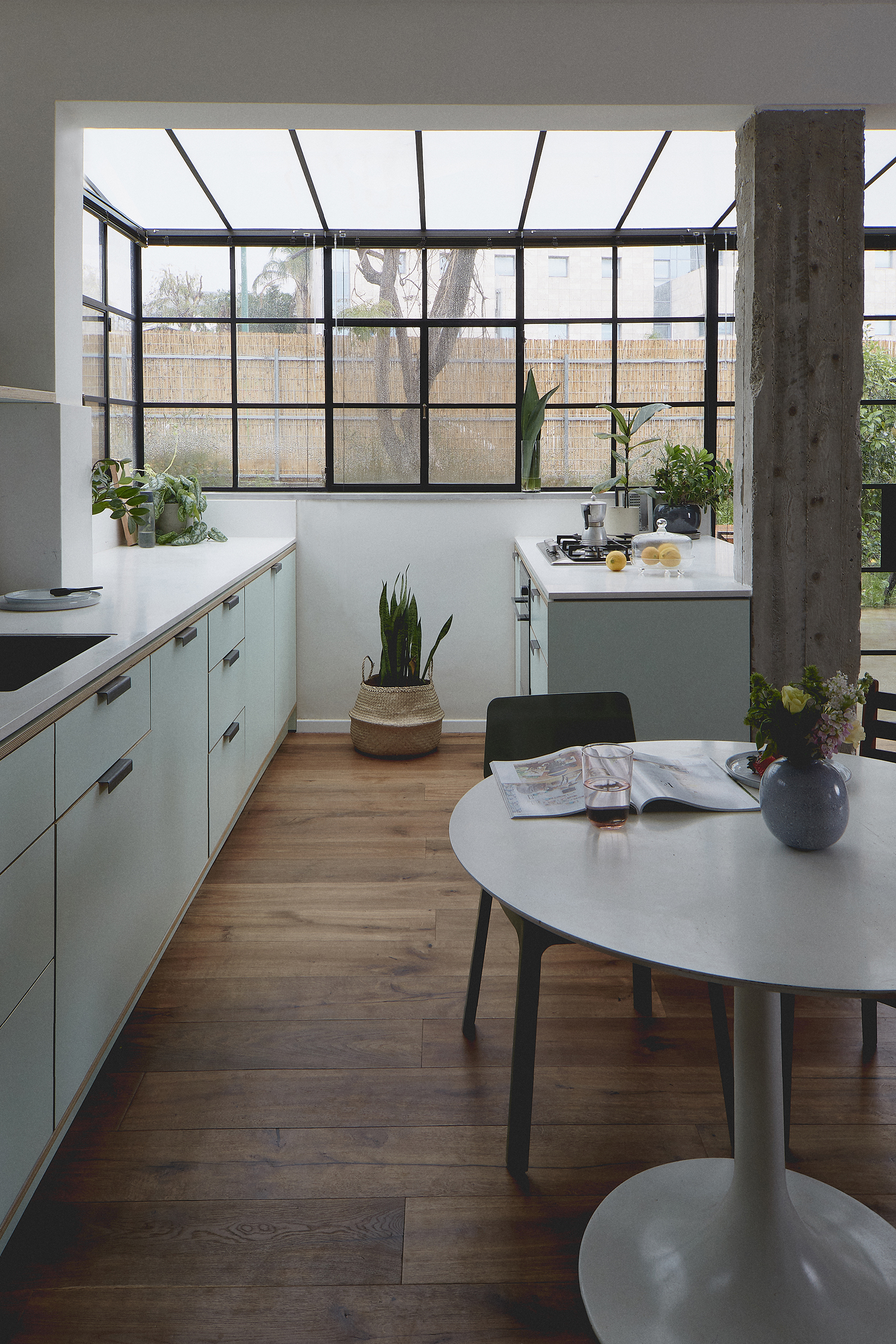 steel frame windows kitchen mint green