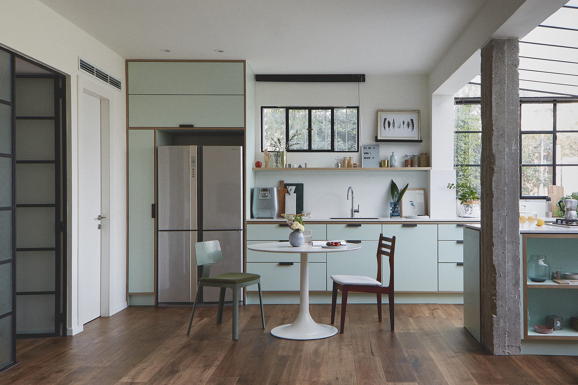 mint green kitchen birch plywood