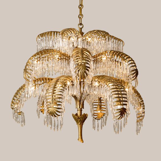 palm lamp brass